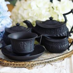 Pure black Wedgwood teapot + milk/sugar plus the matching teacup! #antique…