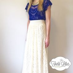"""🌟SALE🌟🆕 Cream Lace Maxi Skirt Beautiful cream lace maxi skirt with elastic empire waistband. Size small/medium. Model is wearing a small/medium.  Measurements: Waist (up to 34.5"""" waist) Length (42.5"""") Care instructions: Hand wash cold, hang to dry. Price is firm unless bundled. Skirts Maxi"""