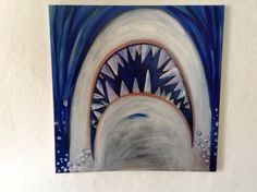 Could paint on large canvas for wall decor Kids Suitcases, Canvas Paintings, Canvas Art, Green And Grey, Grey And White, Kids Bathroom Art, Kid Rooms, Shark Week, White Teeth