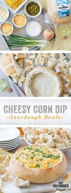 Cheesy Corn Dip in a Sourdough Boule: A California Goldminer Sourdough Large Boule is not just a deliciously tangy loaf of bread - it's the perfect vessel for holding dips. Corn, sour cream, cream cheese, scallions and Pepper Jack and Cheddar Jack cheeses come together for this hot and melty Cheesy Corn Dip. Perfect party fare for the fall and winter holidays, sporting events, tailgating and more!