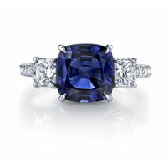 Omi Prive: Sapphire and Diamond 3-Stone Ring Style: RC1260-SACU