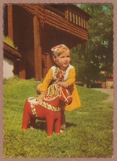 """Lillflicka"" - Lil' girl with her Dala Horse (vintage postcard) Kingdom Of Sweden, Swedish Christmas, Vintage Hippie, The Beautiful Country, Kids Prints, My Heritage, Vintage Children, Children Photography, Vintage Outfits"