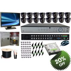 "cctv-1 sell Best 16 Channel DVR CCTV Kits all in one for home and business at cctv-1 online store.  1. 1 x 16 CHANNEL CCTV DVR WITH 500GB HARD DRIVE.  2. 16 X 800TVL IR DAY/NIGHT WATERPROOF FIXED 3.6MM LENS DOME CAMERA. (Grey Color)  3. 1 X 9AMPS 18 OUTLET OUTPUT POWER SUPPLY BOX.  4. 1 X 19"" VGA OUTPUT MONITOR.  5. 1 X 100 METER SHORT-GUN CABLE.  6. 32 BNC CONECTOR.  7. 16 MALE POWER CONECTOR."