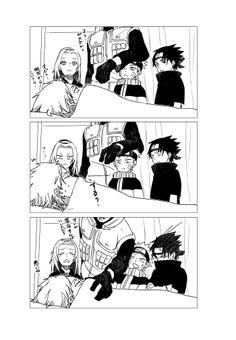 Sakura, Naruto y Sasuke demuestran que aun no se rinden al intentar ver el rostro de Kakashi-Sensei :3 ♥