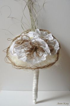 Rustic Organic Natural Inspired Bridal Bouquet w. Fabric Lace Flowers and Jute