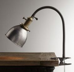 Industrial Era Task Clip Lamp Pewter qty 2 (one for each bed)