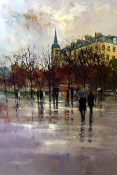 Bert Christensen's Cyberspace Home, Peter Fennell, Paris and Rain Sunlight, Art Gallery, Rain, Fine Art, Wallpaper, Painting, Bedroom, Winter, Umbrellas