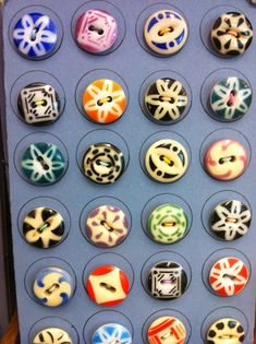 Colorful Calico China vintage buttons. One of the earliest buttons in my collection was a calico. Love them!