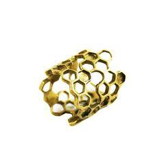 Long Honeycomb Ring Gold by Ayaka Nishi Bold Rings, What Is Fashion, Fashion Editor, Honeycomb, Gold Jewelry, Statement Jewelry, Jewelry Rings, 18k Gold, Bling