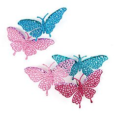 Fashion Sequin & Glitter Butterfly Clip Ornaments, 6-Pack at Big Lots.