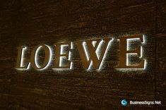 3D LED Backlit Signs With Brushed Brass Letter Shell & 20mm Thickness Acrylic Back Panel For Loewe