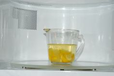Easy Homemade Microwave Cleaner --   1 cup water - 1 fresh lemon, sliced  Directions: Boil a cup of water with lemon slices in your dirty microwave for 20 seconds. This will loosen the hardened food particles inside and your microwave will look brand NEW!