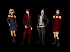 REPOSITOBER DAY 22 - Exchange Teen Vampires • Original Amelia & Bartholemew exchange outfits for TM & TF (necklace removed from male outfit) • Yagami's conversions for AF & AM, • NEW separated blouse...