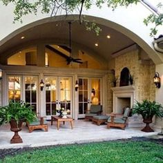 As a homeowner, you have the luxury of creating indoor and outdoor living areas to enjoy. Adding or replacing your patio can improve the beauty and functionality of your yard. However, you need to choose the right patio design ideas to incorporate into. Outside Living, Backyard Patio, Patio Roof, Backyard Fireplace, Fireplace Ideas, Porch Fireplace, Cozy Patio, Limestone Fireplace, Fireplace Kitchen