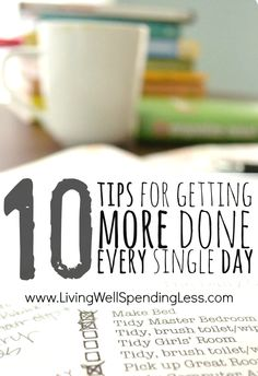 DIY:  10 Tips for Getting More Done Every Single Day - helps prioritize your tasks & stay focused.  There are some helpful ideas here, especially if you have ADD!