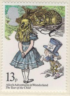 Postage stamp - UK, 1979 (Year of the Child: Alice in Wonderland - Lewis Carroll commemorative odd value) John Tenniel, Postage Stamp Art, Adventures In Wonderland, Vintage Stamps, Art Design, Stamp Collecting, Mail Art, Lewis Carroll, Oeuvre D'art
