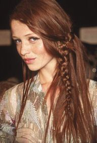 For the hippie chic, spray Sebastian Volupt spray root to ends on damp hair, then blow dry. Loosely braid hair into two braids and flat iron. Take out for a soft beachy wave. Then finish the look with a three-strand braid that starts at the recession in the front of head. Drop out a small piece of hair with each cross over and pin in place. Finish with Sebastian Shaper Zero Gravity hair spray.  http://www.autumnenglish.com/3-prom-hairstyles-you-must-try/