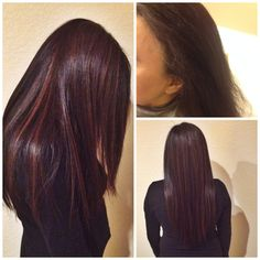 5nw + 6nw for the base with slicing all over for a dimensional look and glazed with shades eq 6nb. Put my mom on a hair regimen and got her to use professional product and the difference after 3 months is amazing! Her hair is shiny, soft, and much much healthier! #pureology #colourfanatic #essentialrepairmask #redken #tigi