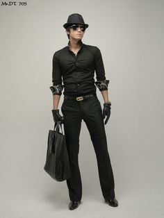Black on black, fedora, sunglasses, leather gloves...this is all-around beautiful.✔ ❤swagger