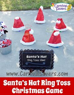 Bright Inspiration Christmas Party Game Ideas For Kids Santa S Hat Ring Toss DIY, christmas party game ideas for kids, christmas party game ideas for kids party. Preschool Christmas Games, Christmas Party Games For Kids, School Christmas Party, Xmas Games, Holiday Party Games, Christmas Carnival, Holiday Parties, Christmas Fun, Santa Games