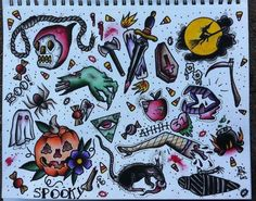 Halloween Flash Tattoos. I love the little pieces of candy corn spread…
