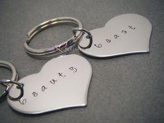 Beauty Beast Heart Keychains