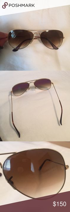 Ray Bans - brown aviator sunglasses!! Gently worn brown aviator sunglasses! The lens fades from a dark brown to a light brown! The frame is gold! They are super cute and go with any outfit! Ray-Ban Accessories Sunglasses