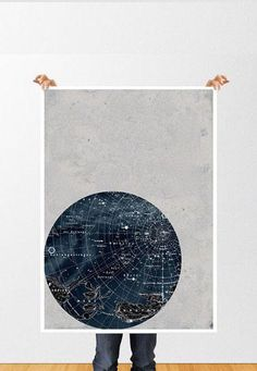 This large print poster has a vintage feel and shows a map of constellations in the night sky.