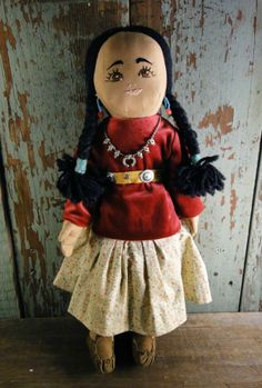 OLD VINTAGE NAVAJO CLOTH DOLL  - EMBROIDERED FACE-EXCELLENT CONDITION