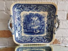 Antique Mason's Vista Ironstone Blue and White Square Plate! Blue And White Fabric, Blue And White China, Blue China, Love Blue, Blue Dishes, White Dishes, Vintage Dishes, Vintage China, Blue And White Dinnerware