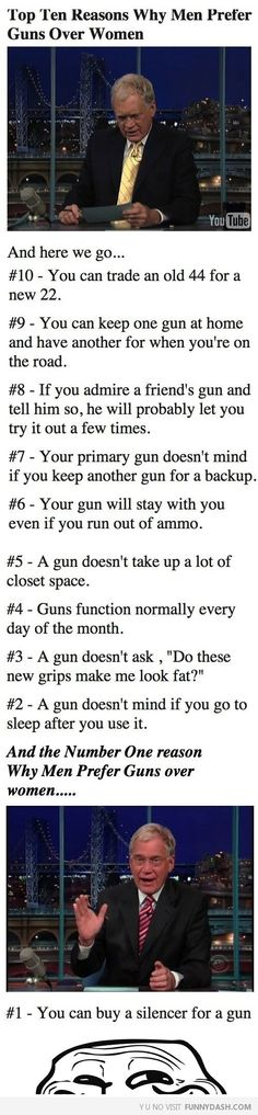 Top Ten Reasons Why Men Prefer Guns Over Women - FunnyDash.com!