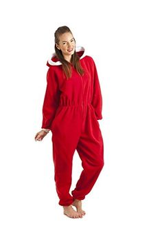 f13cd1a61c Camille Womens Ladies Red Luxury All In One Hooded Fleece Onesie Pyjama   Camille  Amazon.co.uk  Clothing