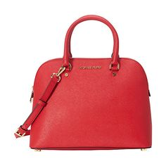 MICHAEL Michael Kors Cindy Large Dome Satchel Satchel (275 CAD) ❤ liked on Polyvore featuring bags, handbags, designer handbags, red, hardware bag, red handbags, red satchel purse, satchel handbags and red satchel