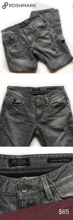 "Guess Los Angeles Jeans • Guess Los Angeles Jeans • Size 32 • Single Button / Zip Fly • 5 Pocket Construction • Emblem Buttons & Rivets  Measurements: • Waist - 32"" • Inseam - 31"" • Rise - 9.5"" • Back Rise - 13"" • Flare - 7.5"" • Zipper - 4"" Guess Jeans Slim Straight"