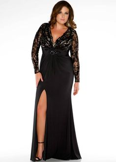 Free shipping on Fabulouss by Mac Duggal 76457F black long sleeve plus size prom dresses available now with RissyRoos.com.