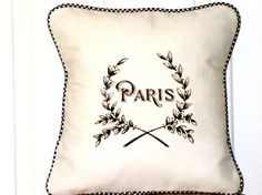 """shabby chic, feed sack, french country, vintage Paris graphic with gingham welting 14"""" x 14"""" pillow sham. by kreativbyerika on Etsy https://www.etsy.com/listing/99732155/shabby-chic-feed-sack-french-country"""