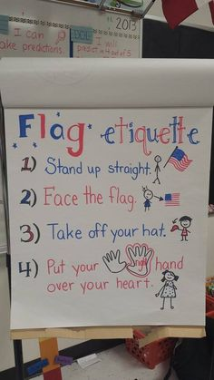 USA First grade flag etiquette anchor chart, just in time for Veteran's Day! Social Studies, Veteran's Day, Flags, US Kindergarten Anchor Charts, Kindergarten Classroom, Classroom Ideas, Classroom Organization, Anchor Charts First Grade, Preschool Behavior, Classroom Rules, Classroom Behavior, Preschool Themes
