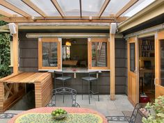 Sliding Barn Doors, not only in style but also a creative way to create flow through any portion of your home to the outside... even if it is raining. Thank you covered patios
