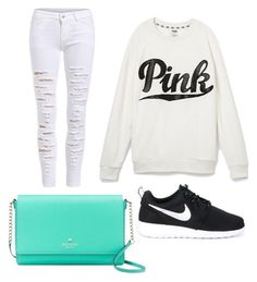 """Lazy day love"" by maryoneal on Polyvore featuring Kate Spade, Victoria's Secret and NIKE"