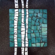 Trio of Trees Mosaic Tray, Mosaic Glass, Mosaic Tiles, Stained Glass, Glass Art, Mosaic Artwork, Mosaic Wall Art, Mosaic Crafts, Mosaic Projects