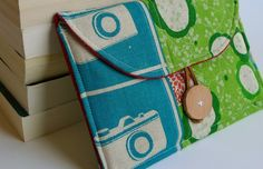 Gift for Grads- Nook / Kindle Spring Collection 2011- Petite Pochette in Turquoise Echino Cameras and Peacocks - Ready to Ship