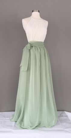 Elegant chiffon skirt, made to order, any color or length. Shown in sage chiffon and satin. Chiffon over satin lining, elastic waist. Please follow directions below to get the perfect fit, leave color choice in the note section when checking out. See photos for Chiffon colors, message me with any questions!! ADD A SASH: https://www.etsy.com/listing/481424983/matching-sash Common length measurements- Mid thigh- (16 inches long) Knee- ( 18-20 inches) Below knee- (24 i...