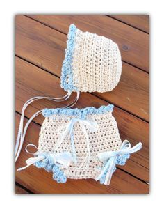 ♥ Adorable #crochet diaper cover and hat pattern.   Beautiful, sweet ruffle trimmed bonnet and bloomers is perfect for dressing up or a photo shoot.  Easy to follow pattern ... #baby #knit