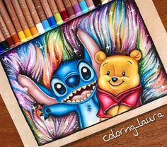 Stitch and Baby Winnie the Pooh. Animated Characters Drawings a Time Trip to Childhood. By Laura.