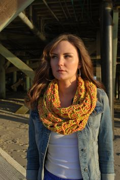 Spring and summer crochet cotton infinity scarf by MISHKAandSTITCH, $25.00