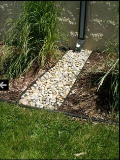 Channel Guard can be used for fences, downspouts, and mow strips. Originally designed as a fence protector, Channel Guard has also been used to effectively improve downspout solutions. Another popular Landscape Drainage, Yard Drainage, Landscape Edging, Gutter Drainage, Rock Drainage, Rainwater Drainage, Drainage Ditch, House Landscape, Landscaping With Rocks