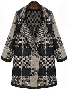 Black Lapel Long Sleeve Plaid Coat