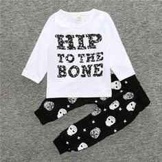 New arrive baby boy clothes long sleeve newborn letter cotton fashion T-shirt + skull trousers