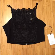 Kendall and Kylie lace black crop top NWT Size small lace black crop top. New with tags Urban Outfitters Tops Crop Tops