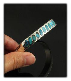 Angle Oval Inlay Bisbee Turquoise Bracelet